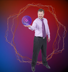 Businessman holding his right hand out, palm up with sphere on