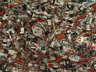 Background of various electronic components of Soviet production