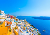 View to the sea and Volcano Fira in Santorini island in Greece - 80835363