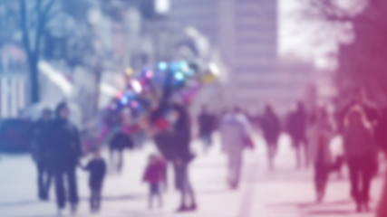 Blur Crowd of People Walking On the Street in Bokeh