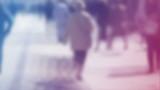 Blur Crowd of People Walking On the Street in Bokeh poster