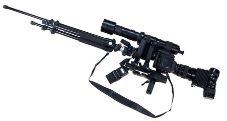 creative rifle from cameras isolated on white background