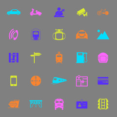 Land transport related color icons on gray background