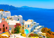 View to the sea from pictorial Oia in Santorini island in Greece