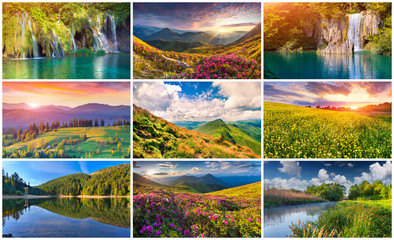 Collage with 9 colorful summer landscapes.