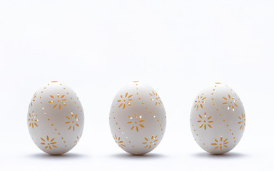 Traditional Easter eggs on white background.