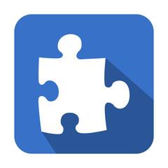 Icono cuadrado azul puzzle con sombra