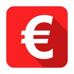 Icono cuadrado rojo euro con sombra