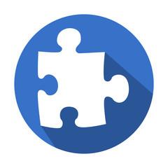 Icono redondo azul puzzle con sombra