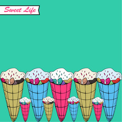 "A vector illustration with sweets and the text ""Sweet life"""