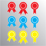 Pictograph of award, different color. vector. poster