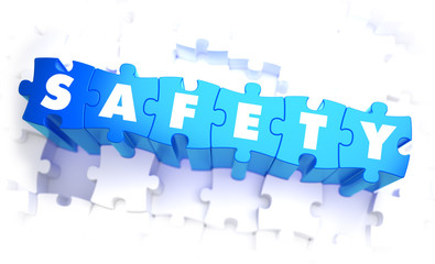 Safety - White Word on Blue Puzzle.