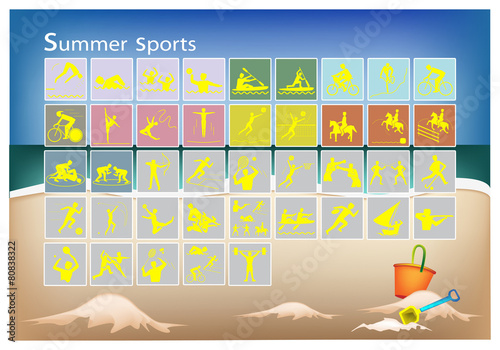 poster of A Mega Set of 41 Summer Sport Icons