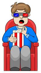 Mann schaut sich einen 3D Film im Kino an