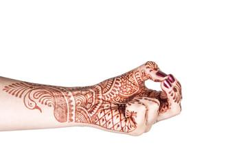 Kubera mudra with henna