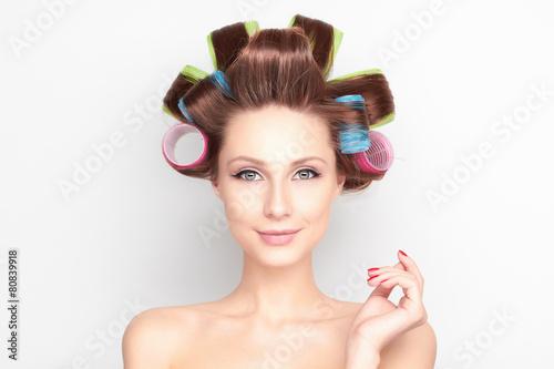 beautiful young woman in beauty salon