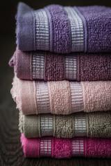 Colorful Towels in Wicker Basket