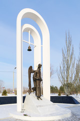 Monument to liquidators of Chernobyl accident, Omsk, Russia.
