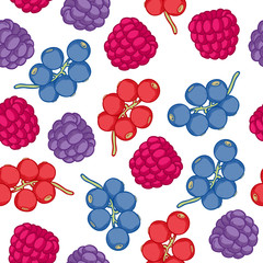 Currant and blackberry seamless pattern.