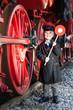 Leinwanddruck Bild - Little Train Conductor Boy