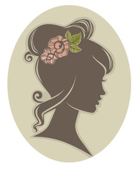 vector floral decoration for woman hair, vector silhouette