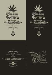 Trendy Retro Vintage Insignias - tattoo Badges - dot work