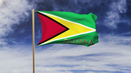 Guyana flag with title waving in the wind. Looping sun rises