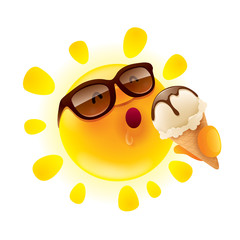Summer sun holding an ice cream