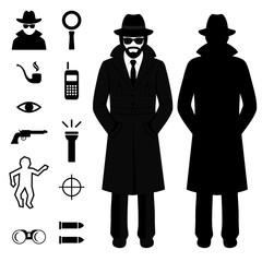 vector spy icon, detective cartoon man, crime