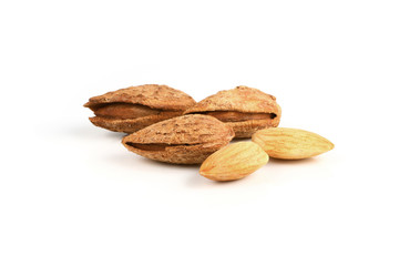 tasty almonds nuts isolated on white background