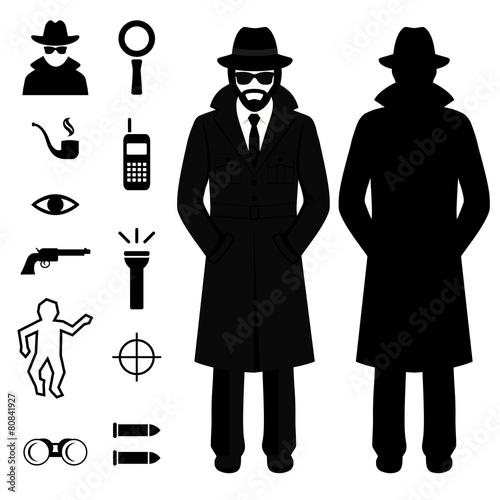 vector spy icon, detective cartoon man, crime - 80841927