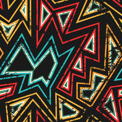 african seamless pattern with grunge effect