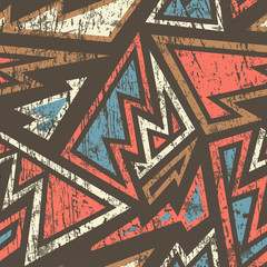 ancient geometric seamless pattern with wood effect
