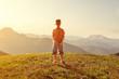 Leinwanddruck Bild - Toddler enjoys view over the mountains