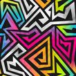 rainbow maze seamless pattern - 80842393