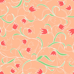 Tulips. Vector floral seamless pattern.  Red plants background.