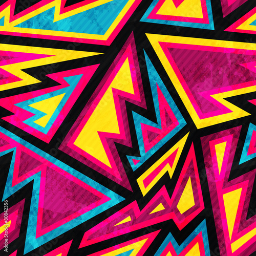 psychedelic colored geometric seamless pattern - 80842356