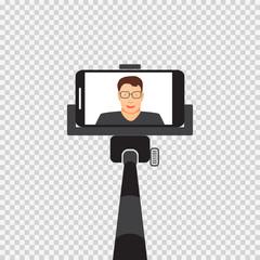 Self monopod with vector illustration