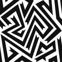 monochrome curve seamless pattern