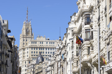 Buildings situated on representative Gran Via street, Madrid