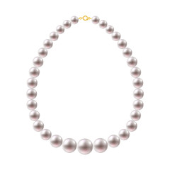 Round Pearls Necklace on white background.