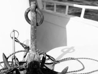 Vintage image of two anchors