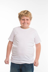 fat kid child studio boy portrait on white