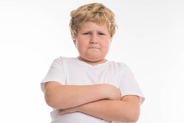 fat kid child studio boy angry portrait on white