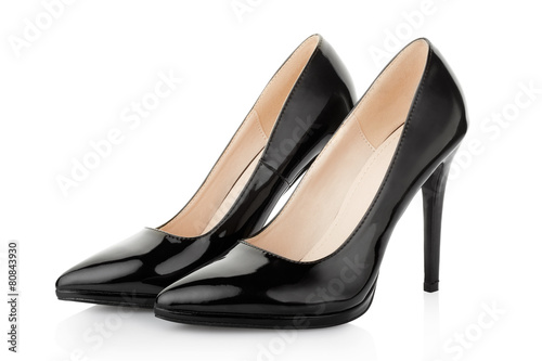 Leinwanddruck Bild Black high heel shoes for woman on white, clipping path