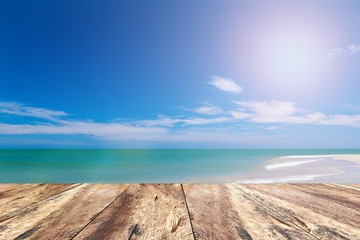 Wood Pave and Blue Sky Beach in Summer Season