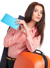businesswoman with a suitcase and a ticket on a white background