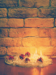 candles against a wall, instagram retro style