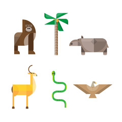 Flat African Animals and Plants. Geometric Style Vector