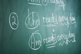 Fototapety Grammar sentences on blackboard background